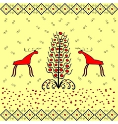Reindeer near christmas tree ornament ethnic vector