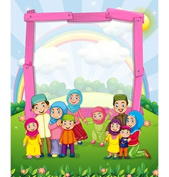 Border design with muslim family vector