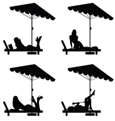 Woman set relax on deckchair in black vector