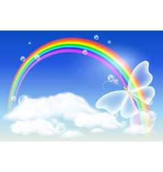 Rainbow and butterfly vector