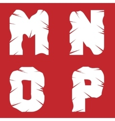 MNOP grunge letters vector image