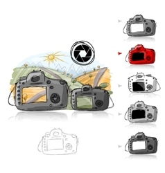 Big and small camera sketch for your design vector