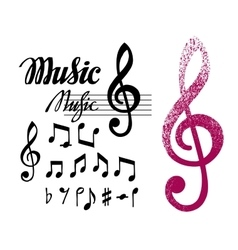 Notes and treble clef set of music design vector