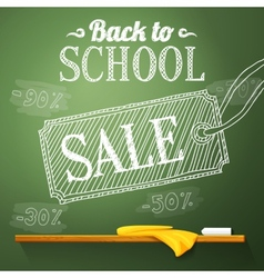 Back to school sale on the chalkboard with vector