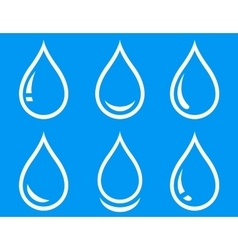 blue water droplet set vector image vector image
