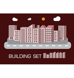 Building set red tone concept vector