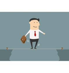 Businessman balancing on a tightrope vector