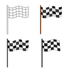 checkered flag icon cartoon single sport icon vector image