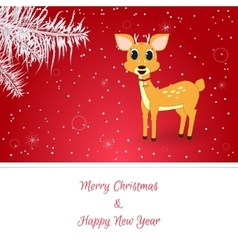 Christmas card in red on her white spruce vector