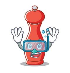 Diving pepper mill character cartoon vector