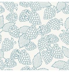 Doodle outline blackberries seamless pattern vector image