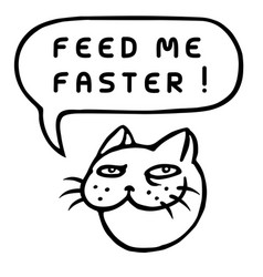 Feed me faster cartoon cat head speech bubble vector