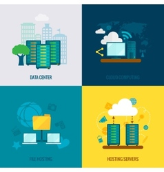 File hosting flat icons composition vector image vector image