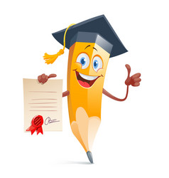 Funny pensil in graduation cap and with diploma vector