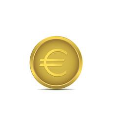 golden euro coin vector image vector image