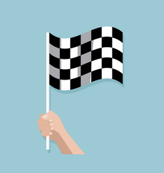 Hand holding checkered race finish flag vector