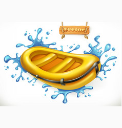 Inflatable boat white water rafting 3d icon vector