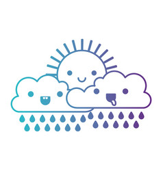 Kawaii sun and cloud with rain in degraded blue to vector