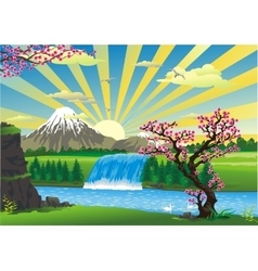 Landscape - sunrise over Japan vector image