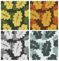 Leaves pattern camouflage set vector