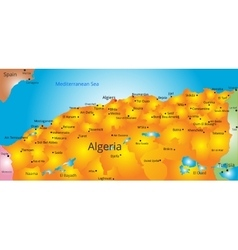 map of Algeria country vector image vector image