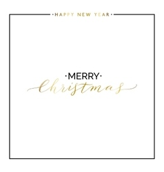 Merry Christmas gold text set happy new year vector image vector image