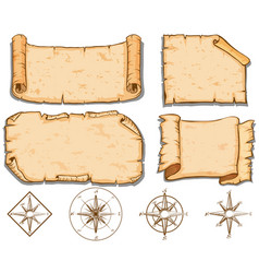 old brown papers and compass vector image vector image
