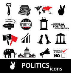 politics black and red simple icons set eps10 vector image vector image