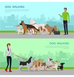 Professional dog walking service banners set vector