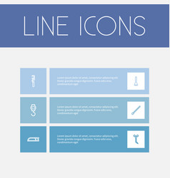 Set of 6 editable apparatus outline icons vector