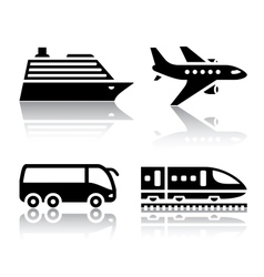 set of transport icons - tourist transport vector image