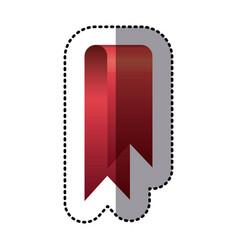 sticker red shiny satin ribbon icon decorative vector image vector image