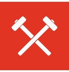 The hammer icon sledgehammer symbol flat vector
