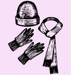 woolen scarf gloves hat vector image vector image
