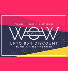 wow sale and discount voucher banner in flat style vector image