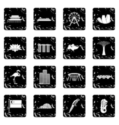 Singapore set icons grunge style vector