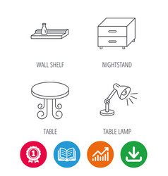 Vintage table lamp and nightstand icons vector