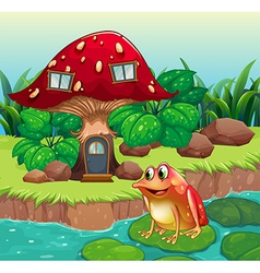 A giant mushroom house near the river with a frog vector image
