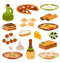 Cartoon italy food cuisine delicious homemade vector