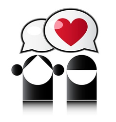 Two people with red heart vector