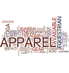Fitness apparel text background word cloud concept vector