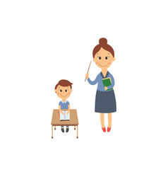 flat boy sitting at desk and teacher vector image