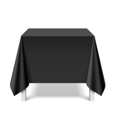 Square table covered with black tablecloth vector