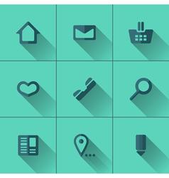 Set of blue icons for website menu Flat design vector image