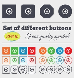 Plus positive icon sign big set of colorful vector