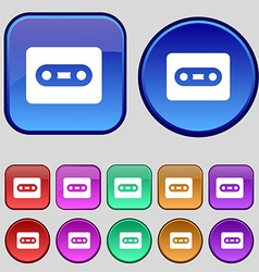 Cassette icon sign a set of twelve vintage buttons vector