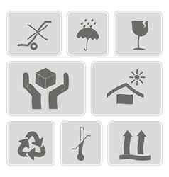Monochrome icons with packaging symbols vector