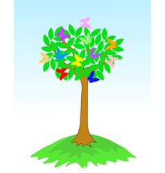 Beauty spring tree with butterflies vector