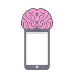 Smartphone smart phone with brain fantastic vector