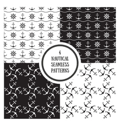 Seamless nautical patterns set vector
